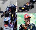Sebastian Vettel świętuje swoje zwycięstwo w Grand Prix Brazylii (2010)