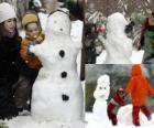 Dzieci bawiące się z Bałwan śniegowy