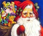 Santa Claus ze sobą wielką torbę pełną zabawek dać dzieciom na Boże Narodzenie