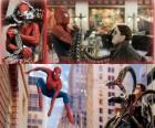 Spiderman walki villain Doctor Octopus, jeden z jego największych wrogów