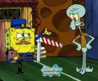 SpongeBob ubrany jak policjant zwraca przepustkę do Squidward Tentacles