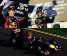 Sebastian Vettel świętuje zwycięstwo w Grand Prix Australii (2011)