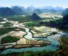 Obszarów wiejskich Chin, rzeki i pola ryżowe