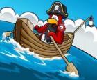 Kapitan Rockhopper i jego zwierzę w jego łodzi w Club Penguin