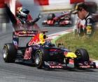 Sebastian Vettel świętuje zwycięstwo w Grand Prix Hiszpanii (2011)