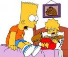 Brat zaskoczony Lisa z instrumentem