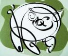 Świń, znakiem świni, rok świni w chińskiej astrologii. Ostatnia z dwunastu zwierząt chińskiego zodiaku