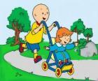 Caillou spacer z młodszą siostrę w wózku