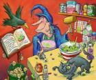 Wiedźma przygotowanie magiczny eliksir z dziwnych składników