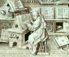 Kopista mnich pracy z piórem i atramentem na pergaminie lub na papierze w skryptorium