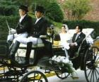 Nowożeńcy pozostawiając uroczystości w bryczką konną
