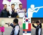 Dekoracji strzelectwo, pistolet pneumatyczny 10 m mężczyzn, Jin Jingoh (Korea Południowa), Luca Tesconi (Włochy) i Andrija Zlatić (Serbia)