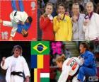 Dekoracji Judo kobiet - 48 kg, Sarah Menezes (Brazylia), Alina Dumitru (Rumunia), Charline Van Snick (Belgia) i Eva Csernoviczki (Węgry) - London 2012 -