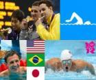 Pływanie 400 m stylem zmiennym mężczyzn dekoracji, Ryan Lochte (Stany Zjednoczone), Thiago Pereira (Brazylia) i Kosuke Hagino (Japonia) - London 2012-