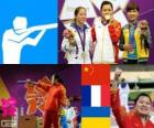 Dekoracji strzelectwo, pistolet kobiet 10 m pneumatyczny, Guo Wenjun (Chiny), Céline Goberville (Francja) i Olena Kostevych (Ukraina) - London 2012-