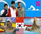 Pływanie mężczyzn 400 metrów stylem dowolnym dekoracji, Sun Yang (Chiny), Park Tae-Hwan (South of Korea) i Peter Vanderkaay (Stany Zjednoczone) - London 2012-