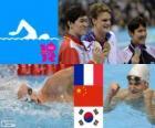 Pływanie mężczyzn 200 metrów stylem dowolnym dekoracji, Yannick Agnel (Francja), Sun Yang (Chiny) i Park Tae-Hwan (Korea Południowa) - London 2012-