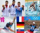 Dekoracji C1 slalomie kajakarstwo, Tony Estanguet (Francja), Sideris Tasiadis (Niemcy) i Michal Martikán (Słowacja) - London 2012-