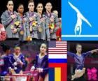 WKKW gimnastyka dekoracji zespołu żeńskie, Stany Zjednoczone, Rosji i Rumunii - London 2012-