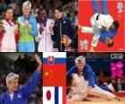 Dekoracji Judo kobiety - 63 kg, Urška Žolnir (Słowenia), Xu Lili (Chiny) i Gevrise Emane (Francja), Yoshie Ueno (Japonia) - London 2012-