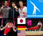 Gimnastyka mężczyzn artystycznych orbitalnego podium indywidualnie, Kohei Uchimura (Japonia), Marcel Nguyen (Niemcy) i Danell Leyva (Stany Zjednoczone) - London 2012-