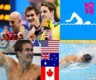Pływanie mężczyzn 100 metrów stylem dowolnym dekoracji, Nathan Adrian (Stany Zjednoczone), James Magnussen (Australia) i Brent Hayden (Kanada) - London 2012-