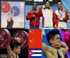 Dekoracji podnoszenie ciężarów mężczyzn 77 kg, Lu Xiaojun, Wu Jingbao (Chiny) i zmienić Iván Rodríguez (Kuba) - London 2012 -