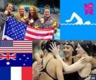 Dekoracji basenie 4 × 200 m freestyle Sztafeta kobiet, Francji, Australii i Stanach Zjednoczonych
