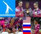 Gimnastyka kobiet WKKW dekoracji, Gabrielle Douglas (Stany Zjednoczone), Viktoria Komova i Aliya Mustafina (Rosja) - London 2012-