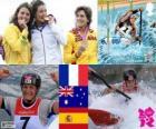 Kajakarstwo K1 kobiet dekoracji, Émilie Fer (Francja), Jessica Fox (Australia) i Maialen Chourraut (Hiszpania) - London 2012-
