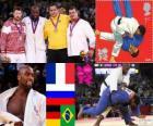 Dekoracji mężczyzn w Judo ponad 100 kg, Teddy Riner (Francja), Alexandr Mijailin (Rosja) i Andreas Tolzer (Niemcy), Rafael Silva (Brazylia) - London 2012-