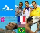Dekoracji basenie mężczyzn 50 metrów stylem dowolnym, Florent Manaudou (Francja), Cullen Jones (Stany Zjednoczone) i César Cielo (Brazylia) - London 2012-