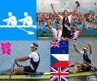 Rudern einer, Mahe Drysdale (Neuseeland), Ondřej Synek (Tschechische Republik) und Alan Campbell (Vereinigtes Königreich) - London 2012 - Podium