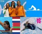 Dekoracji basenie 50 m kobiet stylem dowolnym, Marleen Veldhuis, Ranomi Kromowidjojo (Holandia) i Aliaxandra Herasimenia (Białoruś) (Holandia) - London 2012-