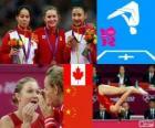Gimnastyka dekoracji w skoki na trampolinie kobiet, Rosannagh Maclennan (Kanada), Huang Shanshan i on Wenna (Chiny) - London 2012-
