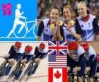 Dekoracji Kolarstwo utwór prowadzenia przez zespoły 4000 m kobiet, Wielkiej Brytanii, Stanach Zjednoczonych i Kanadzie - London 2012-
