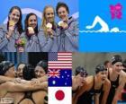 Podium pływanie kobiet 4 × 100 m zmienny sztafeta, Stany Zjednoczone, Australia i Japonia, Londyn 2012