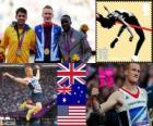 Leichtathletik Männer Weitsprung Podium, Greg Rutherford (Vereinigtes Königreich), Mitchell Watt (Australien) und Will Claye (USA), London 2012