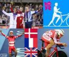 Podium śledzić rowerowe męskie omnium, Lasse Norman Hansen (Dania), Bryan Coquard (Francja) i Edward Clancy (UK), Londyn 2012