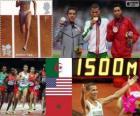 Lekkoatletyka mężczyźni 1500 metrów podium, Taoufik Makhloufi (Algieria), Leonel Manzano (Stany Zjednoczone) i Abdalaati Iguider (Maroko), Londyn 2012