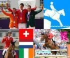 Poszczególnych skoków konny podium, Steve Guerdat (Szwajcaria), Gerco Schröder (Holandia) i Cian O'Connor (Irlandia), Londyn 2012