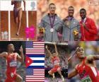 Dziesięciobój lekkoatletyczny lekkoatletyka dekoracji, Ashton Eaton, Trey Hardee (Stany Zjednoczone) i Leonel Suarez (Kuba), London 2012