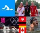Bieg maratoński 10 kilometr basenie dekoracji, Oussama Mellouli (Tunezja), Thomas Lurz (Niemcy) i Richard Weinberger (Kanada), London 2012
