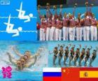 Podium zsynchronizowane drużyny pływackiej, Rosja, Chiny i Hiszpanii, Londyn 2012