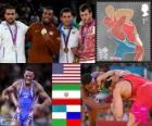 Podium freestyle wrestlingu 74 kg mężczyzna, Ernest Jordan Burroughs (Stany Zjednoczone), Sadegh Goudarzi (Iran), Tigiyev Soslan (Uzbekistan) i Denis Tsargush (Rosja), Londyn 2012