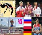 Lekkoatletyka kobiety młot rzut podium, Tatiana Lysenko (Rosja), Anita Włodarczyk (Polska) i Betty Heidler (Niemcy), Londyn 2012