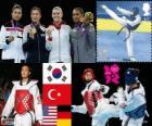 Podium Taekwondo kobiet -67 kg, Hwang Kyung-Seon (Korea Południowa), Nur tatarska (Turcja), Paige McPherson (Stany Zjednoczone) i Helena Fromm (Niemcy), Londyn 2012