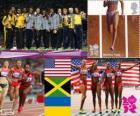 Lekkoatletyka kobiety 4 x 100 m podium, Stany Zjednoczone Ameryki, Jamajka i Ukrainy, Londyn 2012