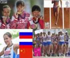 Podium lekkoatletyka kobiety 20 km pieszo, Elena Lashmanova, Olga Kaniskina (Rosja) i Qieyang Shenjie (Chiny), Londyn 2012