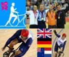 Keirin mężczyzn toru kolarskiego podium, Chris Hoy (Wielka Brytania), Maksymilian Levy (Niemcy), Simon van Velthooven (Nowa Zelandia) i z Teun Mulder (Holandia), Londyn 2012